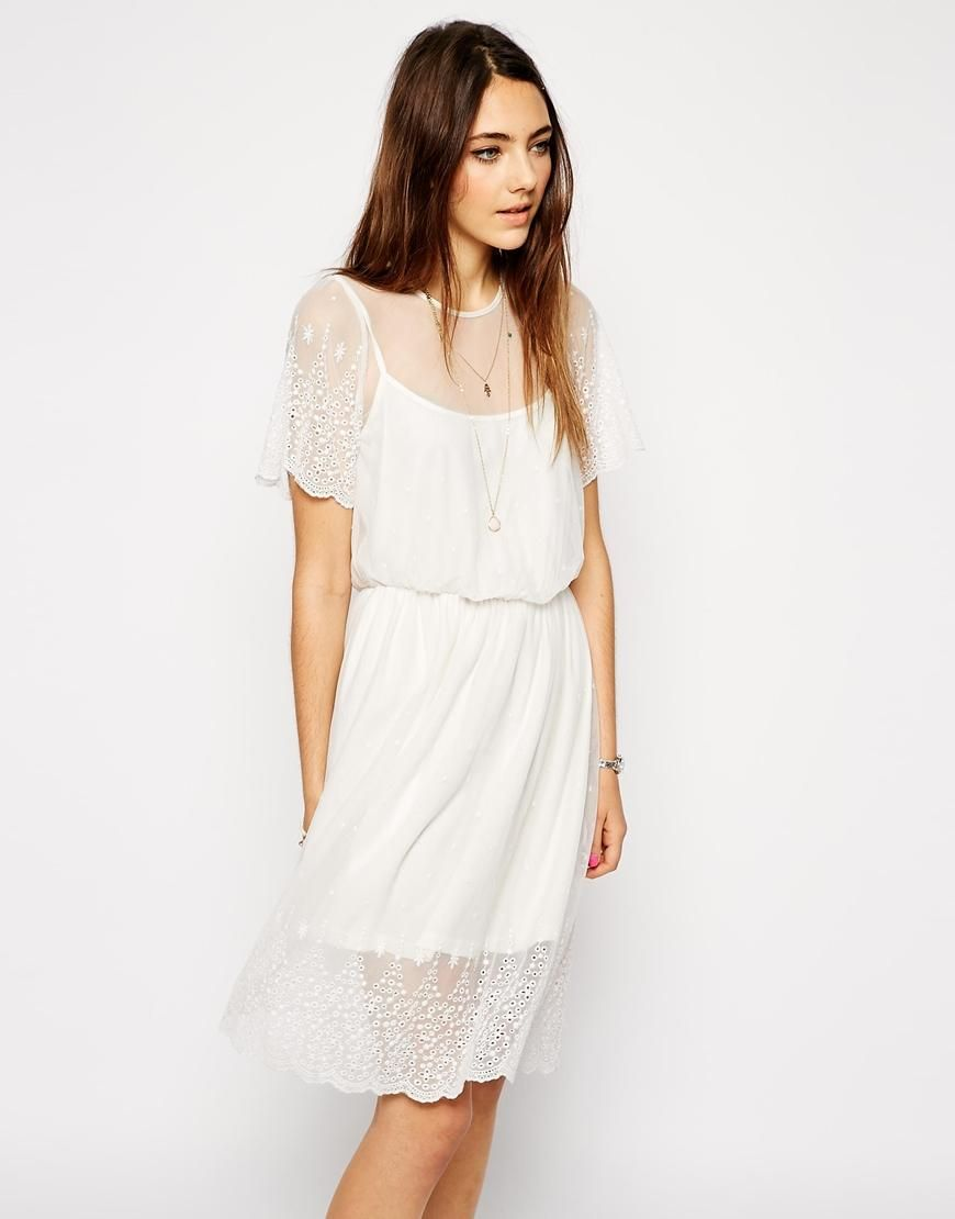 Asos Asos Pretty Midi Skater Dress With Lace And