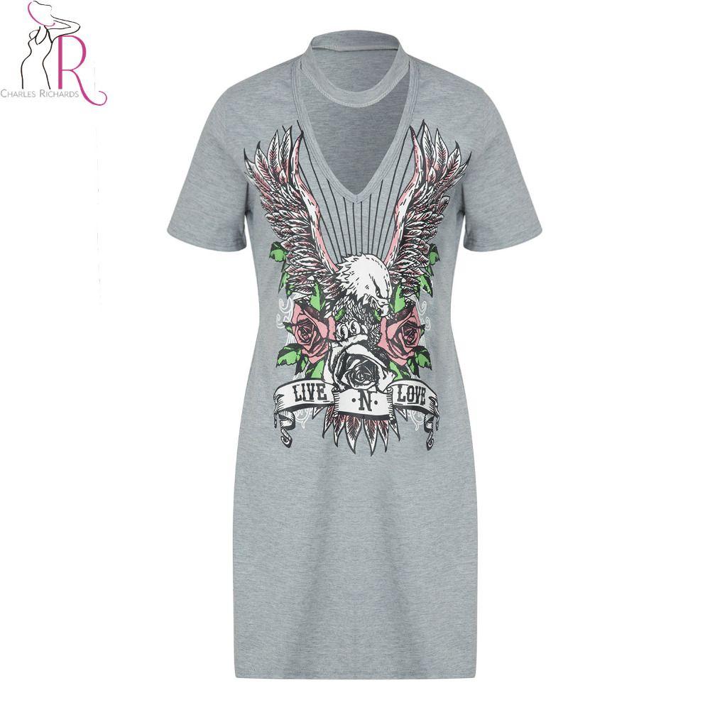 Choker v neck eagle print summer tshirt dress new short sleeve