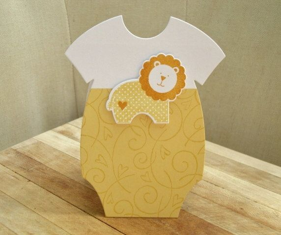 Baby Onesie Card, Baby Card with Lion, Yellow Baby Card, Happy New Baby. $4.00, via Etsy.