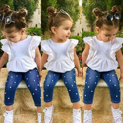 2pcs Toddler Kids Baby Girl Outfit Ruffle Fly Sleeve Tops Blouse Pants Jeans Set Fashion Clothing Sho Ropa Infantil Para Nina Ropa Para Ninas Ropa Bebe Nina