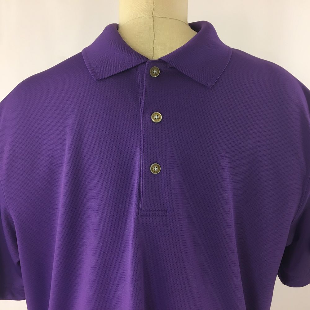 f607b0217f02 Golf Polo Grand Slam Mens Large Air Flow Golf Shirt Purple Short Sleeve   GrandSlam