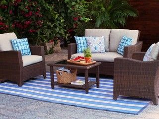 Canvas Portland Collection Patio Loveseat Features An All Weather