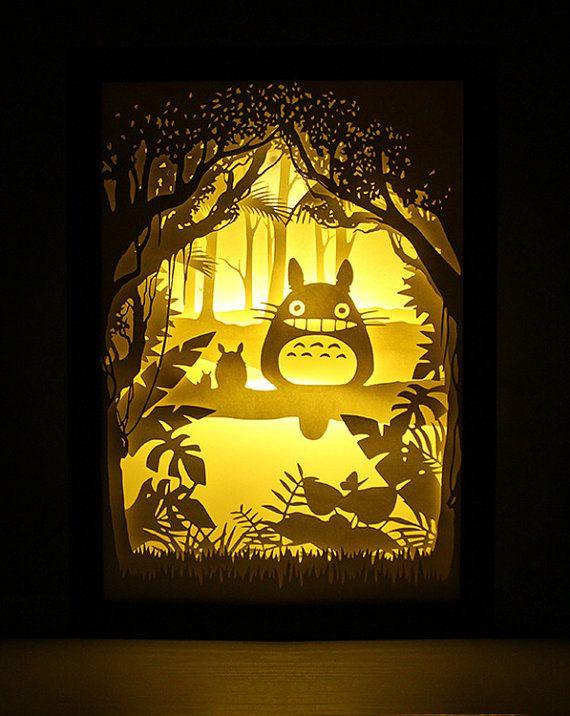 Silhouette My Neighbor Totoro Papier Geschnittenen Lichtkasten Nacht Akzent Lampe Geburtstag Geschenk Idee Schat Nursery Room Art Shadow Light Box 3d Paper Art