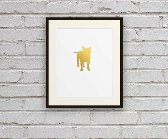 $18 Boston Terrier Dog Cameo Silhouette Art Print for Home, Office, or Nursery Gold Decor by Motif Motif