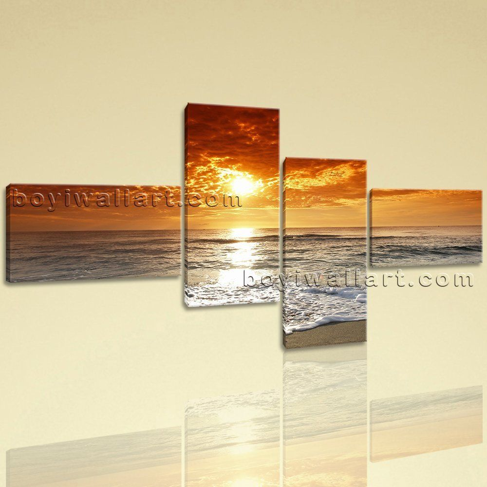 Large HD On Canvas print 5 Pieces Framed Beach Wall Art Sunset ...