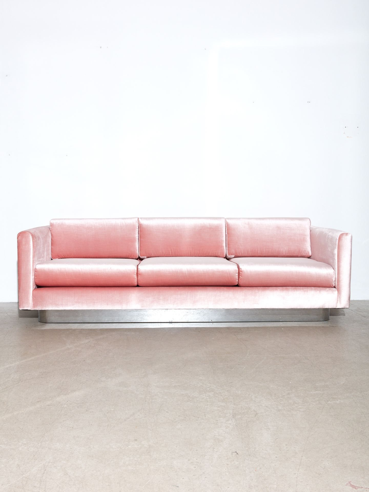 Milo Baughman For Thayer Coggin Chrome Velvet Sofa Sofa Milo