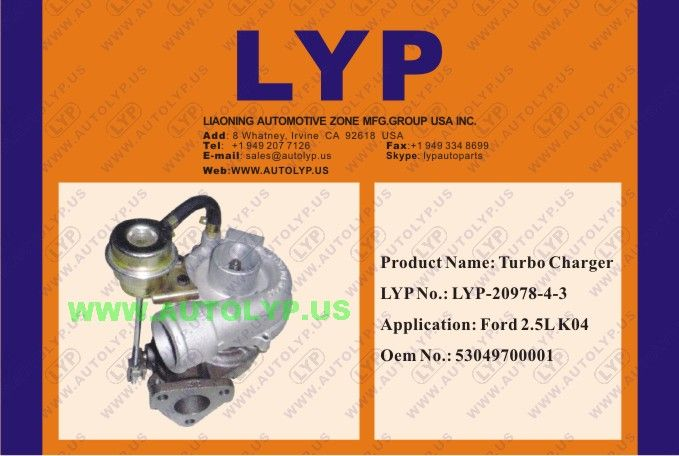 LYP-20978-4-3TURBO CHARGER/TURBOCOMPRESOR53049700001REPLACEMENT FOR/REEMPLAZO PARAFORD2.5L K04