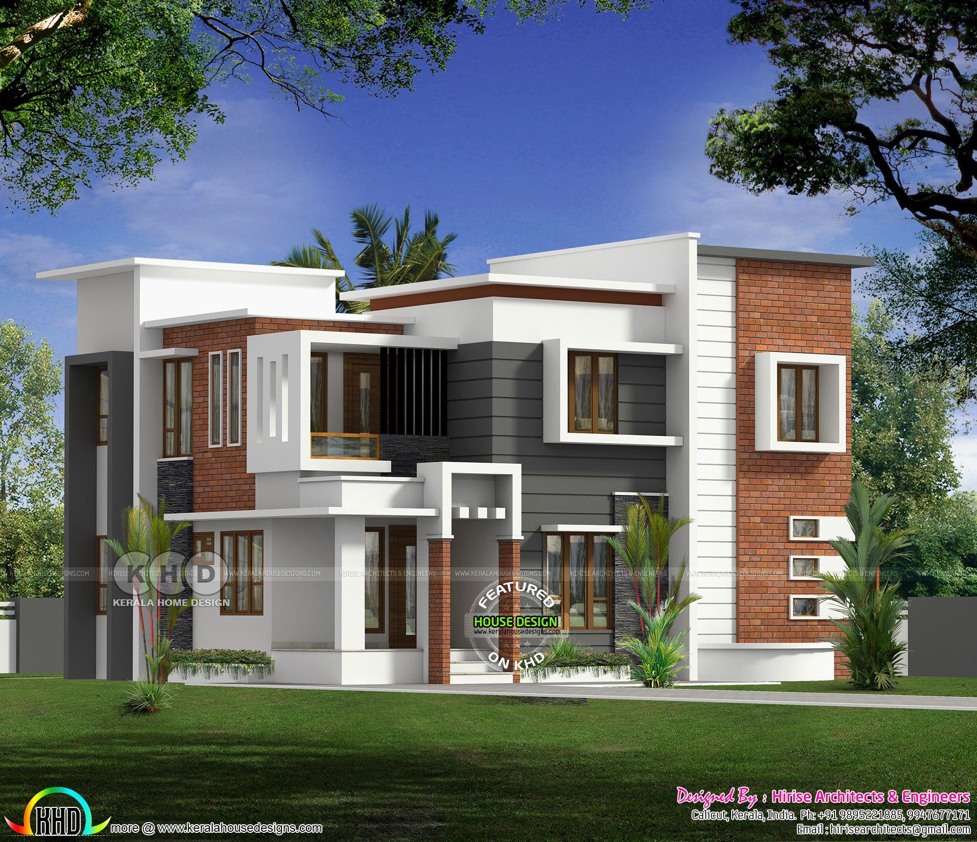 Flat Roof Modern 4 Bedroom House In 2250 Sq Ft House Roof Design Duplex House Design Beautiful House Plans