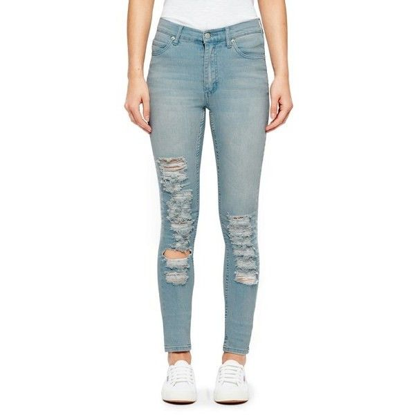 Cheap Monday Women's 'Second Skin' High Waisted Skinny Jeans (£24) ❤ liked on Polyvore featuring jeans, pants, blue, stretch jeans, skinny jeans, high-waisted jeans, high waisted ripped jeans and destroyed skinny jeans