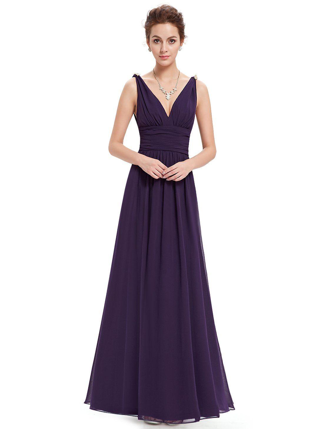 Alle Kleider schicke lange kleider : Ever Pretty Damen V-Ausschnitt Lange Chiffon Abendkleider ...