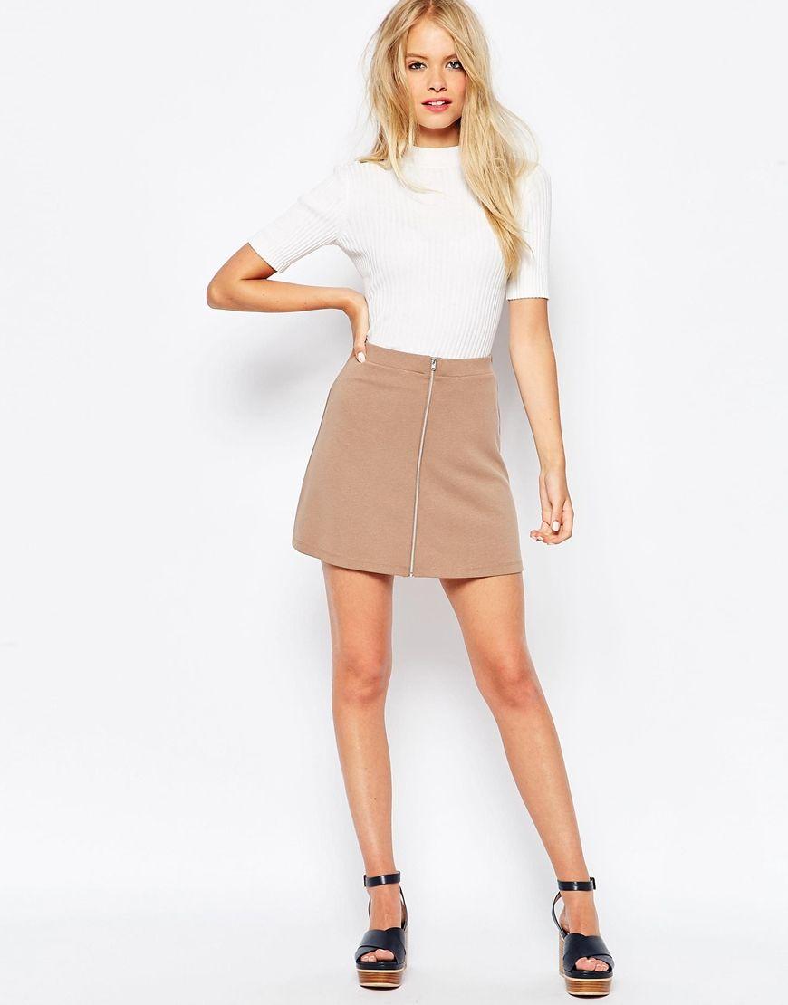 Image 1 ofASOS A-Line Skirt With Zip Through