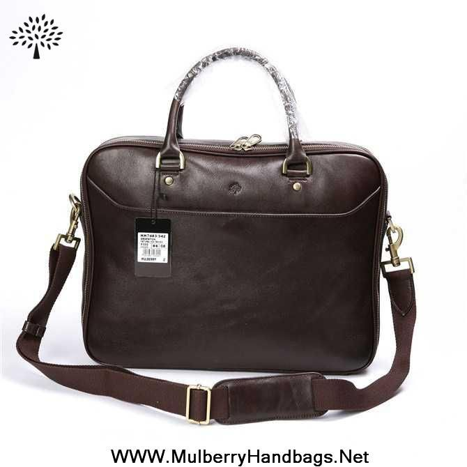 adb2e6adf0e Buy Mulberry Mens Small Oliver Natural Leather Laptop Briefcase Dark Coffee  On Cyber Monday