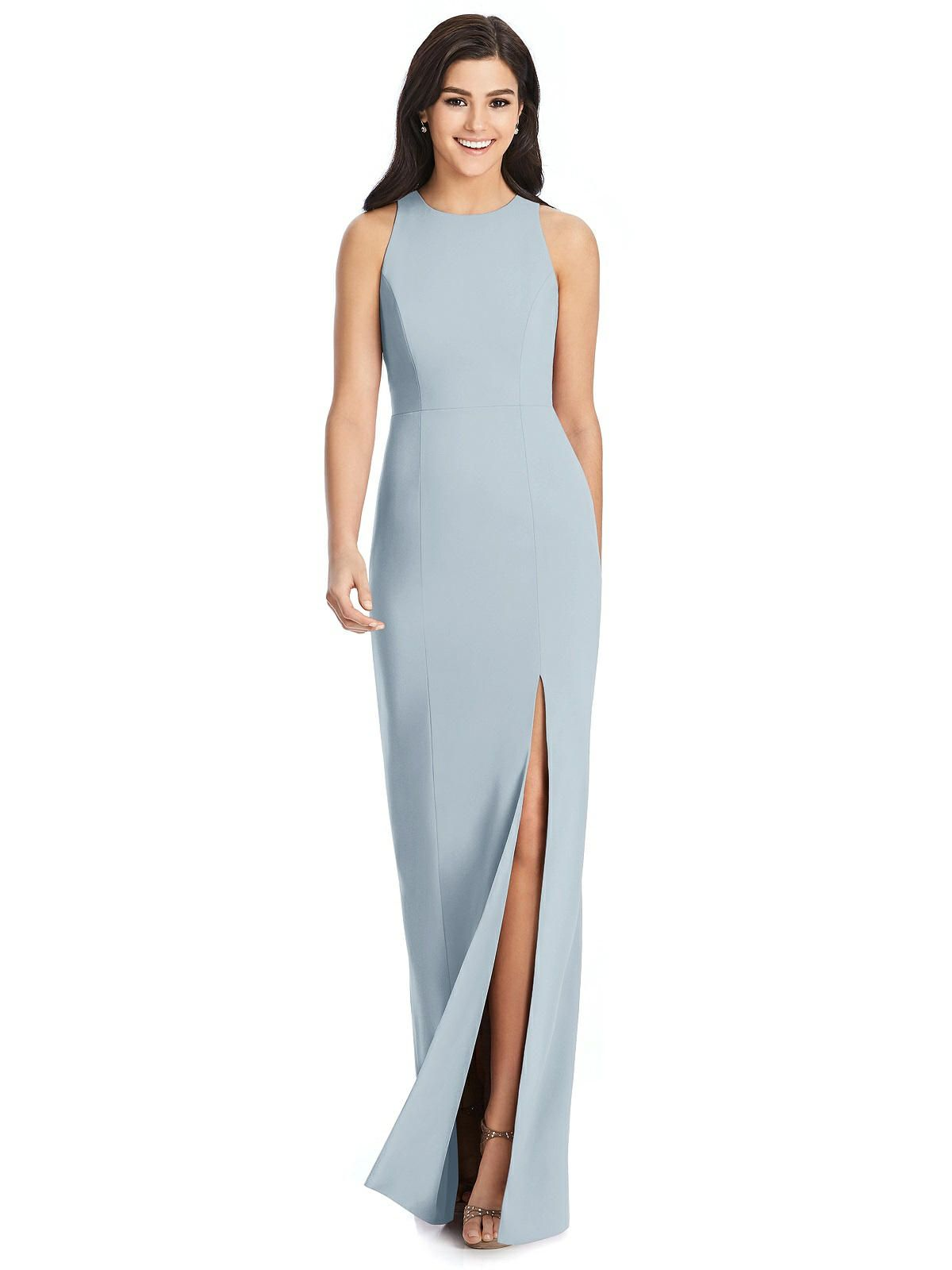 Dress the Population Womens Faith One Cold Shoulder Flounce Gown with Slit
