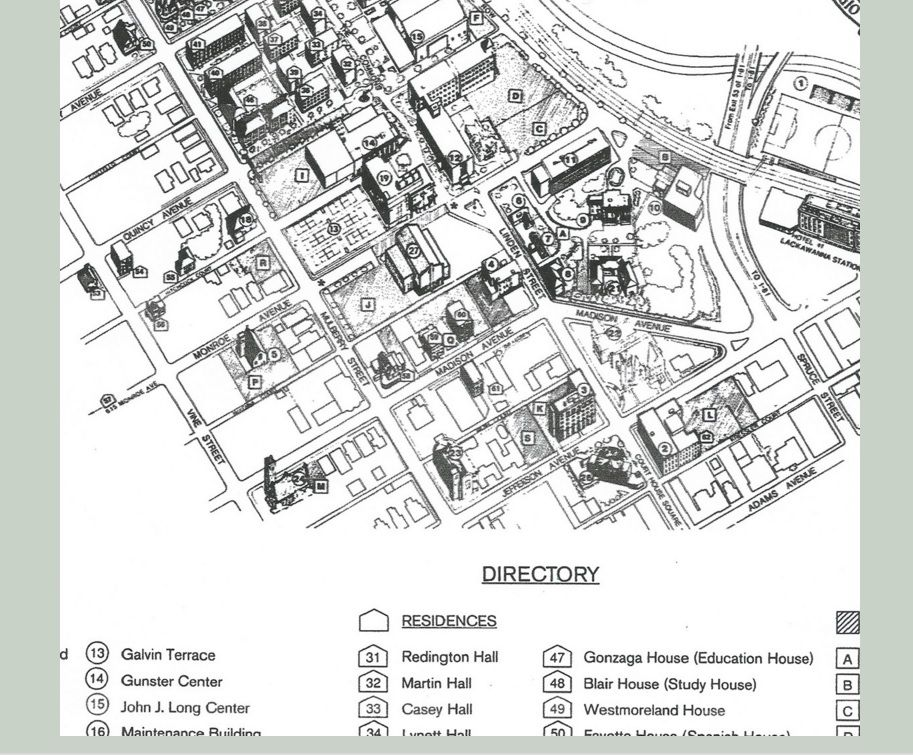 Part of a pre-computer site plan in ink on mylar, University of