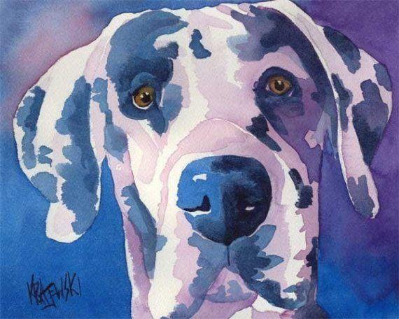 Great Dane Wall Art Dog Watercolor Art Print Of Original Painting