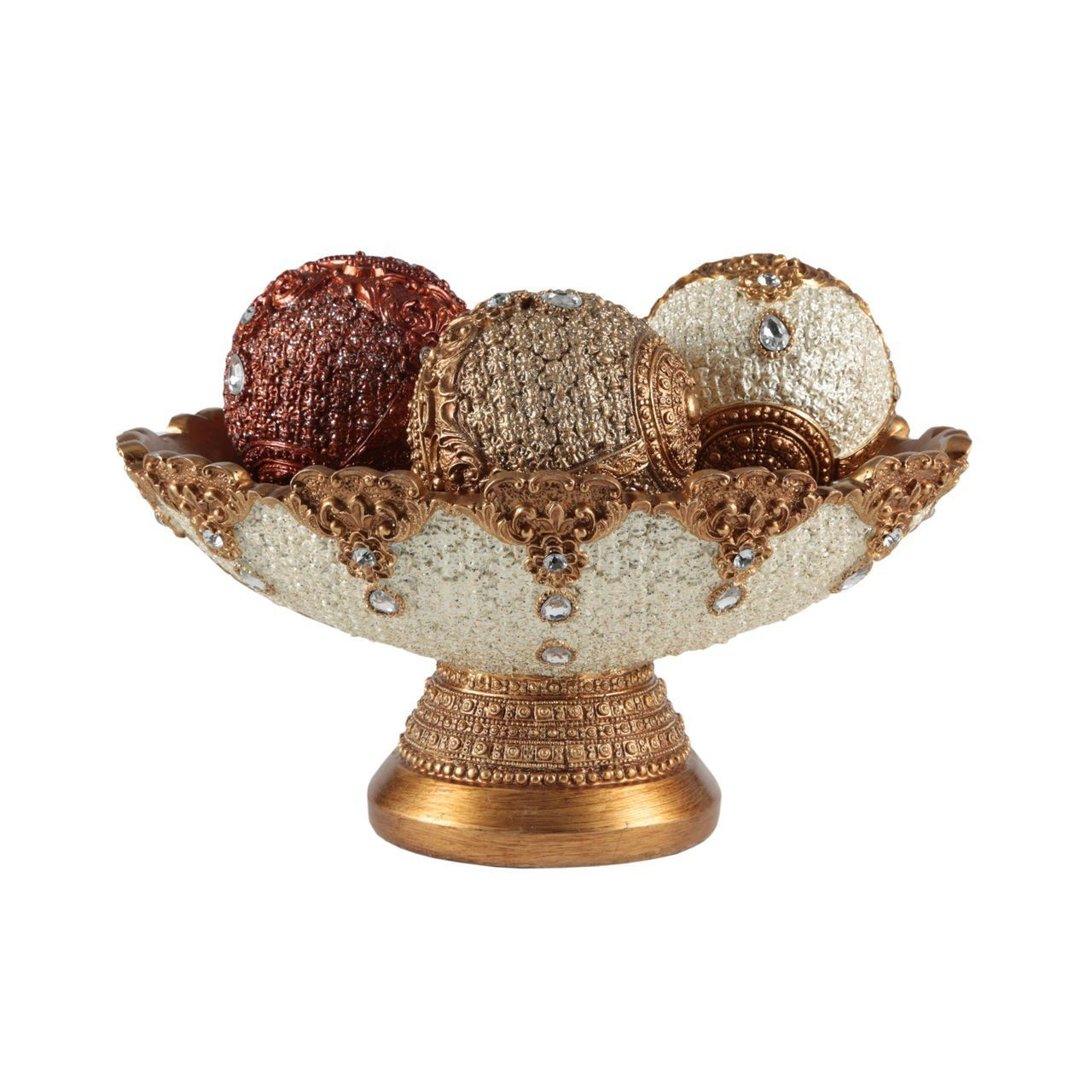Decorative Bowl With Balls Eyecatching Decorative Bowl And Orb Set Includes Three Balls