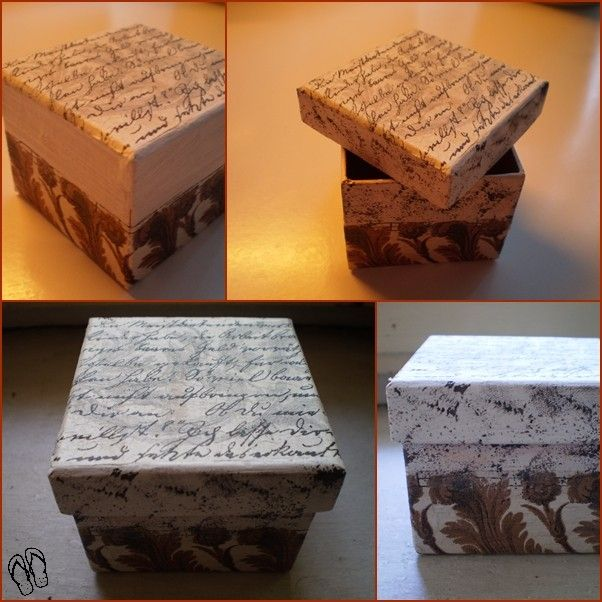 decoupage cardboard boxes (including a decoupaged label on