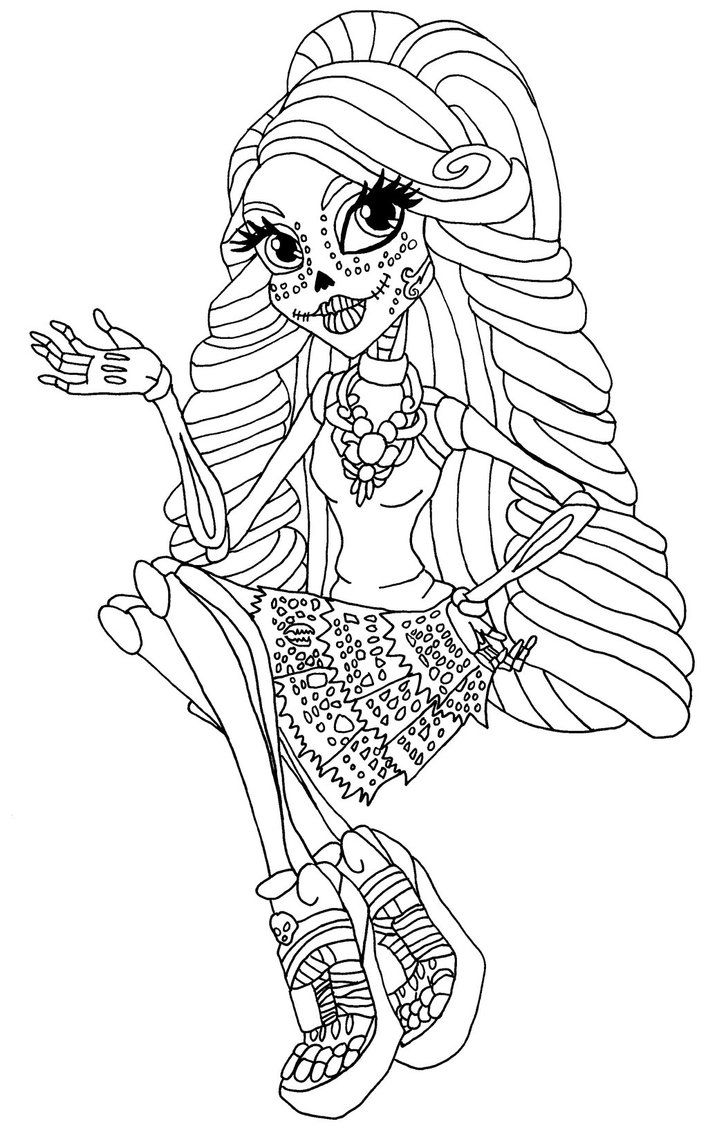 a coloring page of skelita in a sitting pose from monster high   2 ...