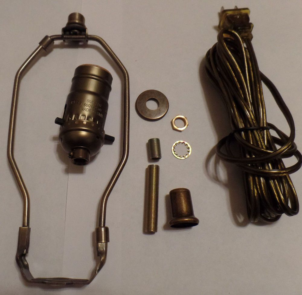 Table lamp socket - Details About Table Lamp Wiring Kit 8 Antique Finish Harp Pushthru Socket Antique Brass Cord