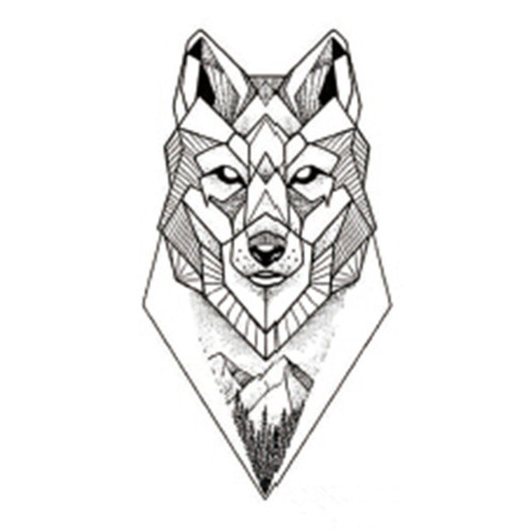 Sanaer Geometric Wild Wolf Nature Animal Temporary Tattoo Geometric Wolf Tattoo Geometric Wolf Geometric Tattoo