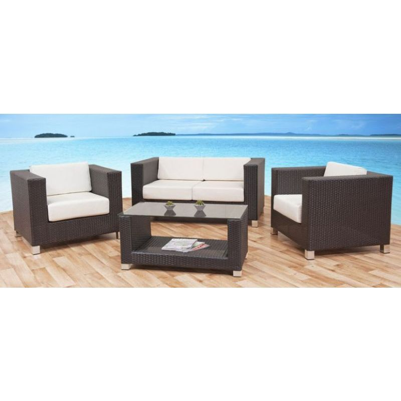 Oasis 4 Seater Garden Lounging Table And Chairs Set: Zanzibar Outdoor Wicker 4 Seat Lounge Set In Coffee