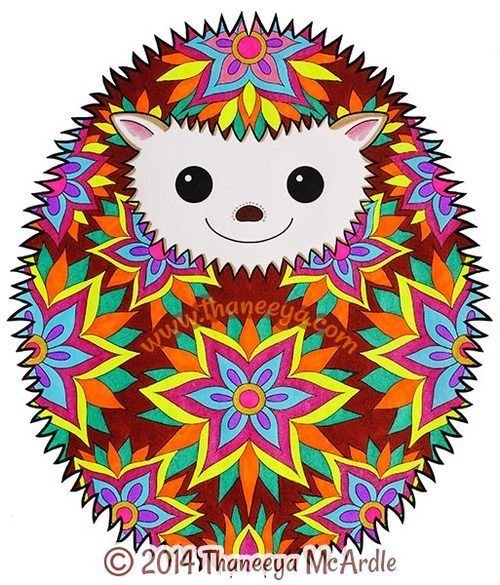 Hedgehog From Hipster Coloring Book By Thaneeya McArdle