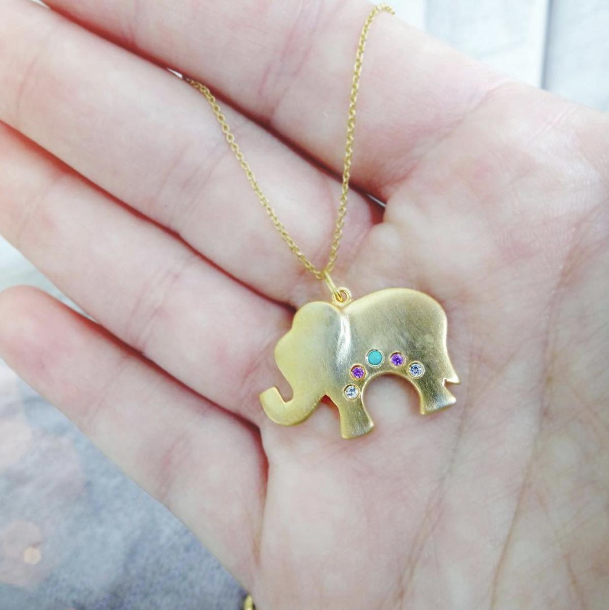 Gold Elephant Necklace, 14k Elephant Jewelry, Mini Elephant