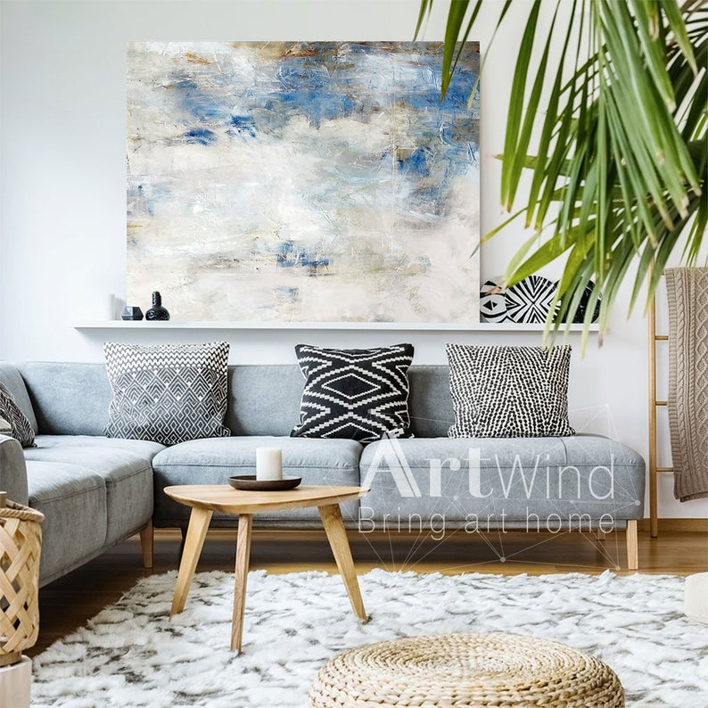 Large White Artwork Light Blue Wall Art Blue And White Art Oversize Wall Art Extra Large Wall Art Abstract Abstract Canvas Painting Hand Art With Images