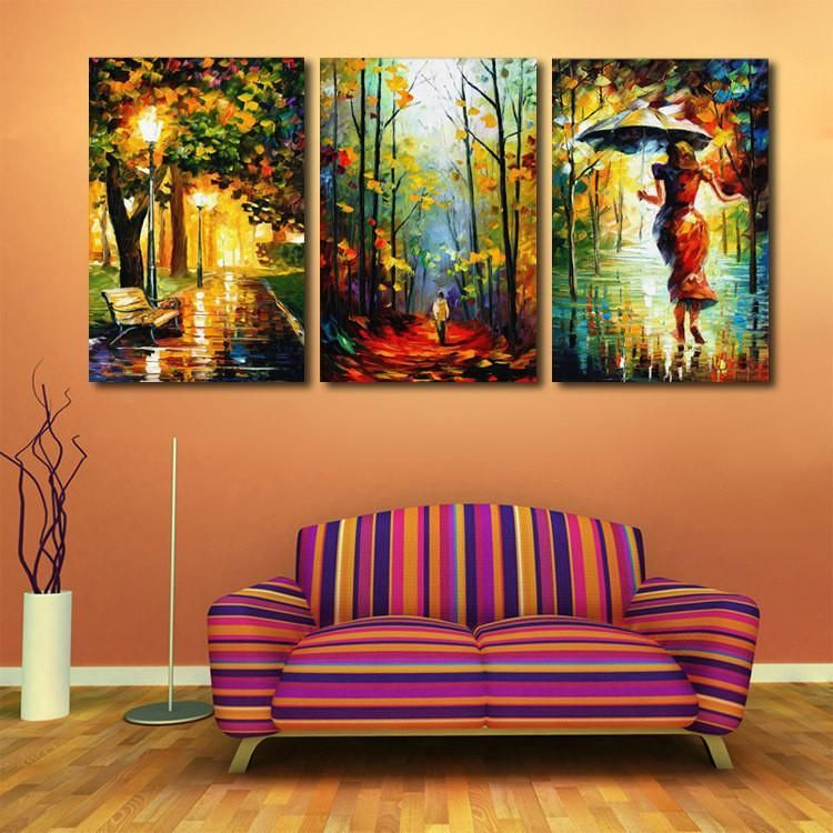 Walking In The Rain 3 Pc Oil Painted Canvas Wall Art Set 2 Sizes Oilpaintingrain Canvas Wall Art Set Living Room Oil Painting Wall Art Canvas Painting