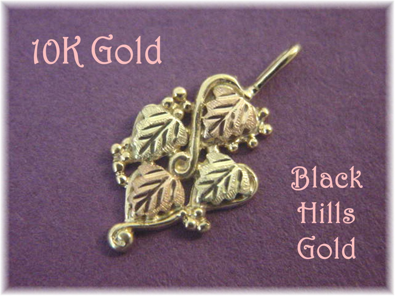 K gold black hills gold ivy leaf vine pendant yellow u rose