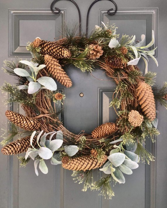 Rustic Wreath Lambs Ear Pine Cones Winter Winter Door Decorations Door Decorations Rustic Wreath