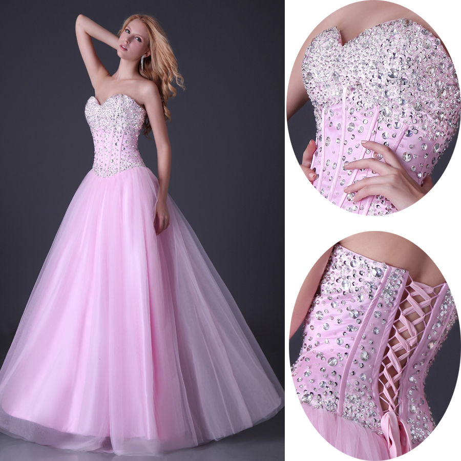 Strapless BEAD Long Formal Wedding Prom Party Bridesmaid Evening ...