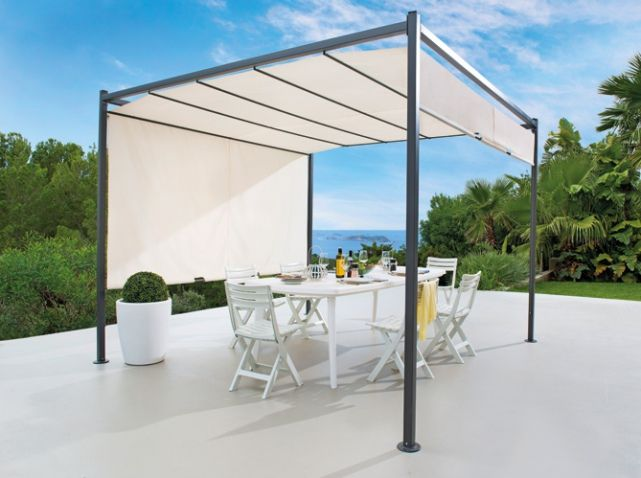 tonnelle rideau amovible blanc jardin pinterest nuances d co et pergolas. Black Bedroom Furniture Sets. Home Design Ideas