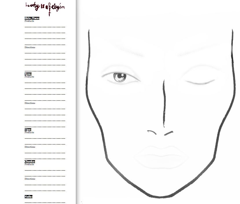 face chart! Really simple so that you can add stuff like mascara - blank face template printable
