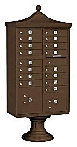 Regency Decorative CBU (Includes CBU, Pedestal, CBU Top and Pedestal Cover - Short) - 16 A Size Doors - Type III - Bronze - USPS Access by Salsbury Industries. $1462.33. Salsbury 3300 series USPS approved Cluster Box Units (CBU's) are accessed from the front through two (2) opening master door panels. The durable and corrosion resistant units feature a powder coated finish. Each CBU includes one or two (2) fully integrated parcel lockers and a matching pedestal. Each door includ...
