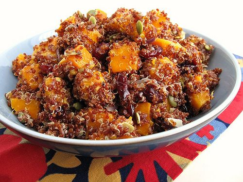 Red Quinoa with Roasted Butternut Squash, Dried Cranberries, and Pumpkin Seeds -- Tonight we're remixing this with white quinoa, no cranberries or seeds, and delish green beans in white sauce