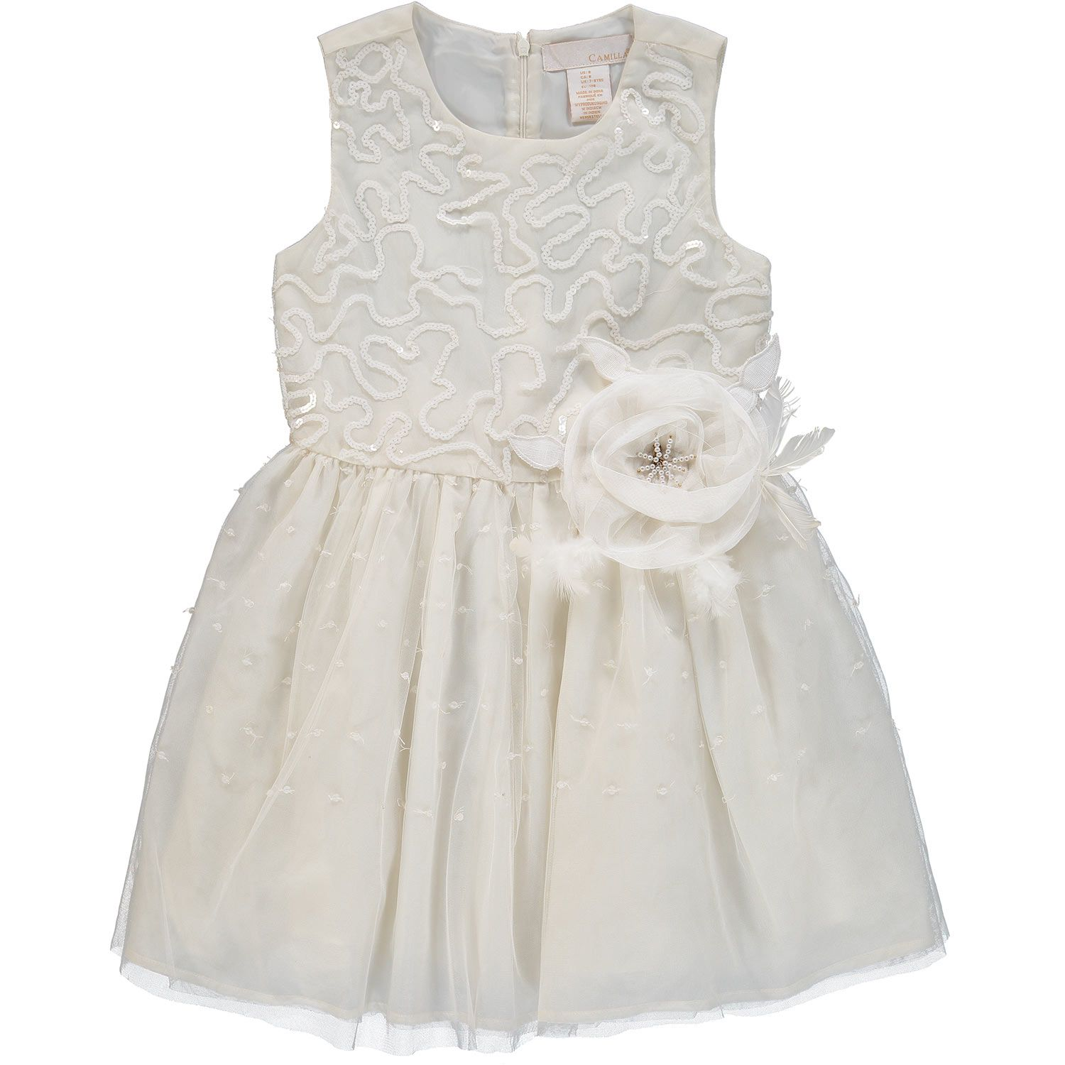 Camilla Cream Sequin Tulle Dress