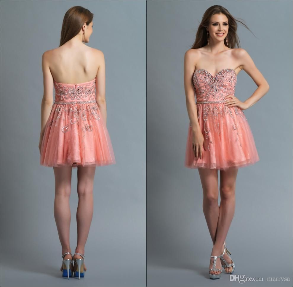 Fashion Party Sweetheart Neckline Short Cocktail Dresses Coral Lace Beaded Sleeveless Mini Pretty Homecoming Dresses Women Cheap Dresses Strapless Dress Formal [ 970 x 989 Pixel ]