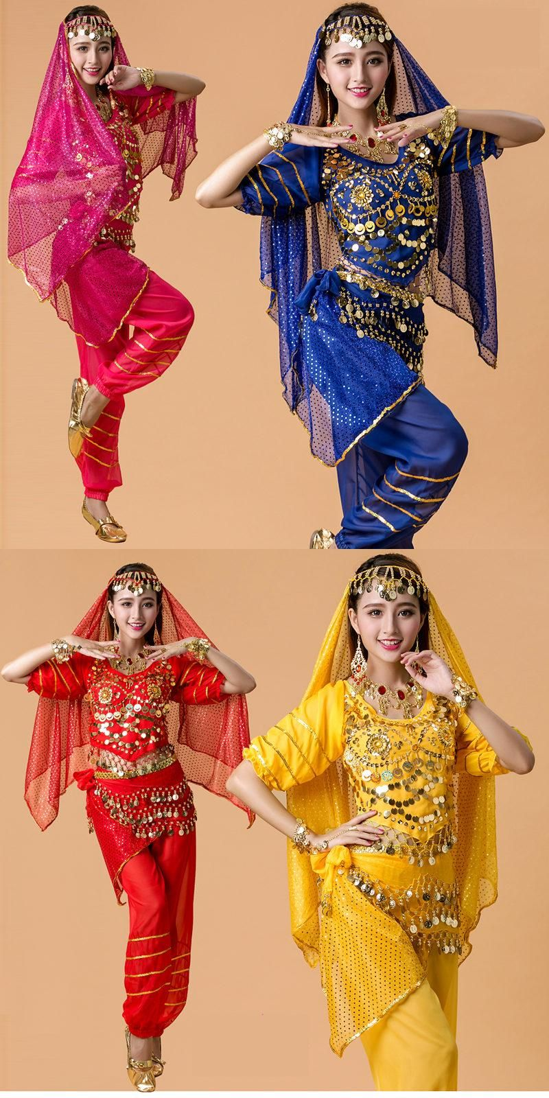2016 New 4pcs Set Belly Dance Costume Bollywood Costume Indian Dress  Bellydance Dress Womens Belly Dancing Costume Sets 7 Color