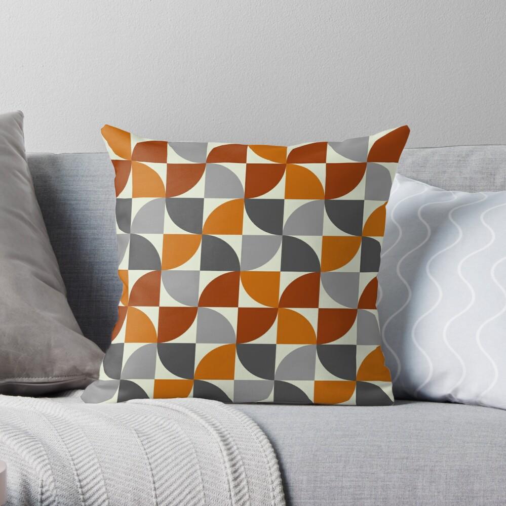 Grey And Orange Mid Century Modern Throw Pillow By Boodapug