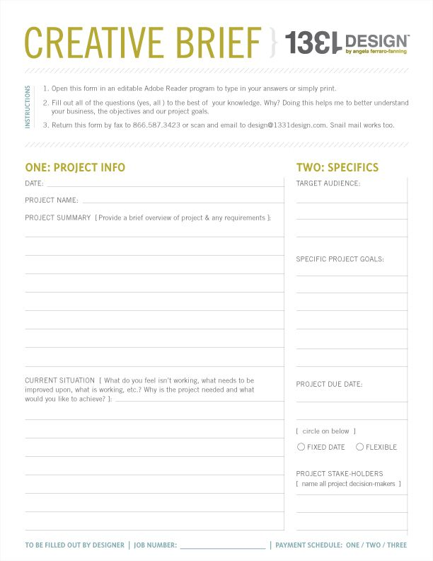 My Creative Process Series  - project brief template