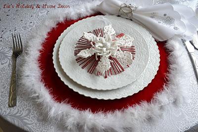 Christmas plate setting for 2