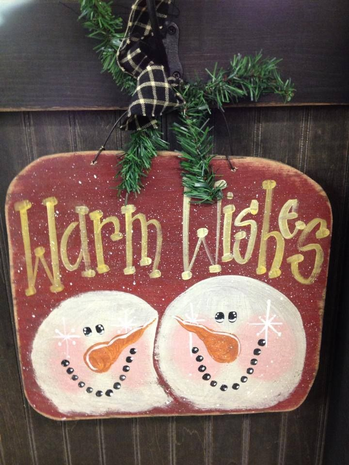 Cute Snowman Wood Craft Hand Painted Winter Craft Show