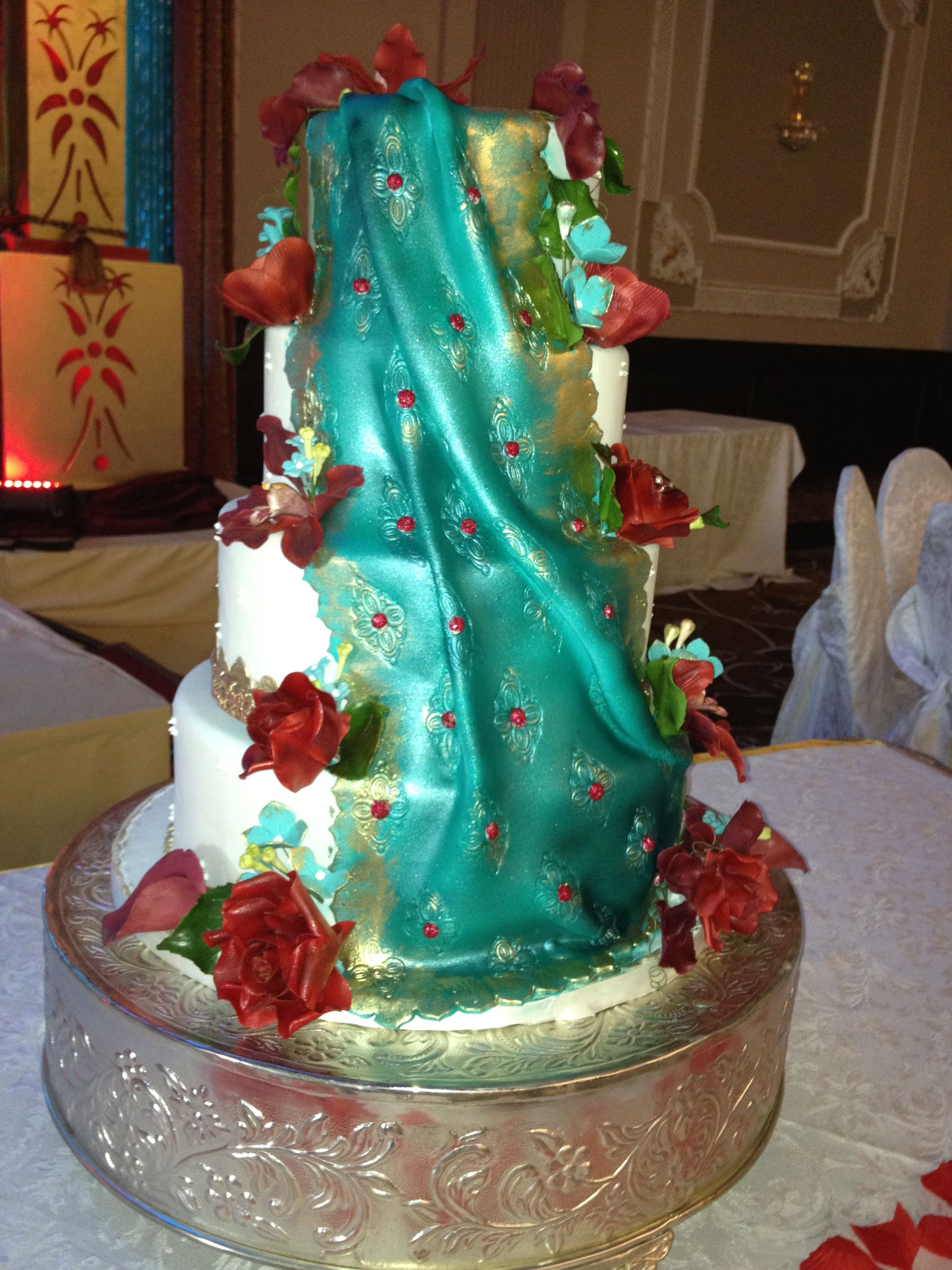 Teal And Deep Red Indian Saree Inspired Wedding Cake Kenley
