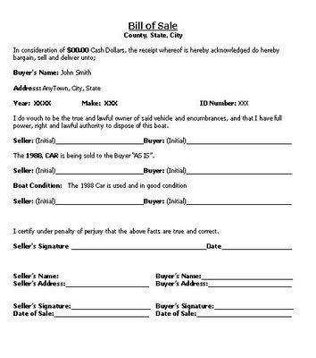 Bill of Sales Type Forms Pinterest - boat bill of sale