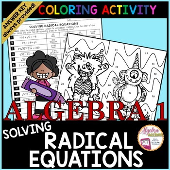 Solving Radical Equations Coloring Activity | Color ...
