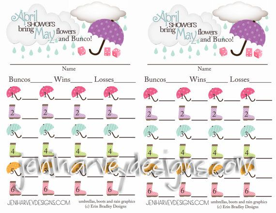 April Showers Bunco Score Sheet  Bunco Ideas
