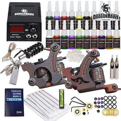 Tätowierung Komplett Tattoo Kit Set 2 Tattoomaschine 20 color inks HW-9VD-13CE
