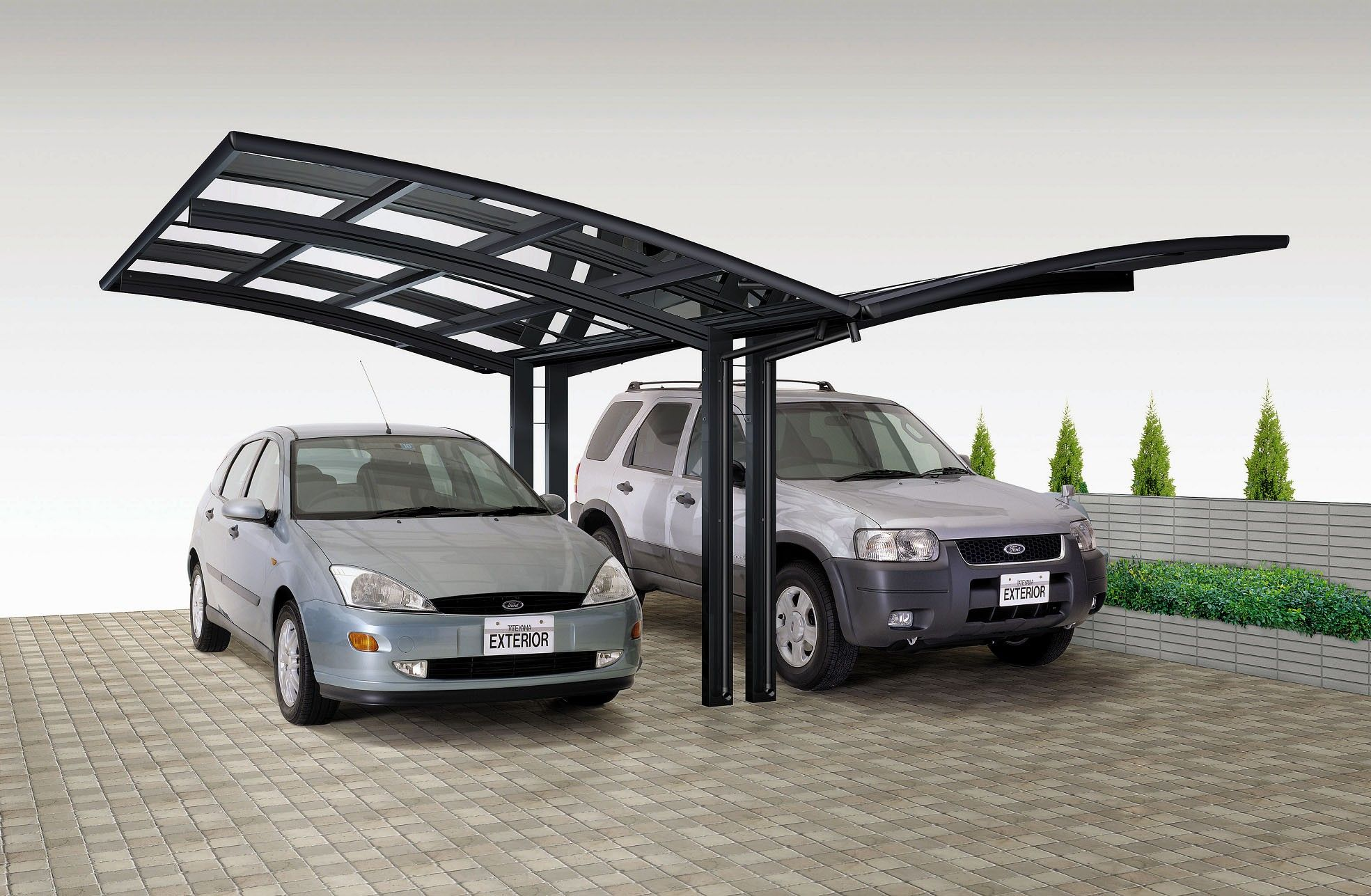 Alu design carport skiatsu kc doppelcarport 5 40m x for 3 car carport designs