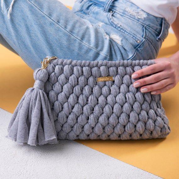 Gray Crochet Clutch Purse Bag  Prom Evening Yarn Purse Bag  Wedding Clutch